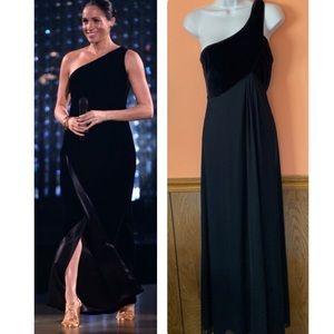 One Shoulder Velvet Full Length Gown